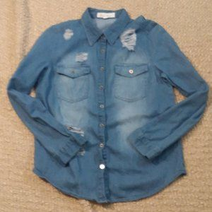 Love Tree thin Jean Button Up shirt size Small